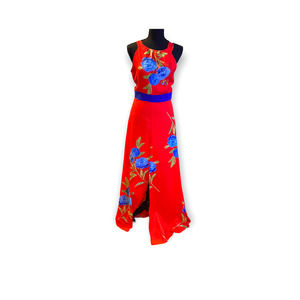 Foxiedox Polly Bow-Back red floral print maxi dress size small NWT